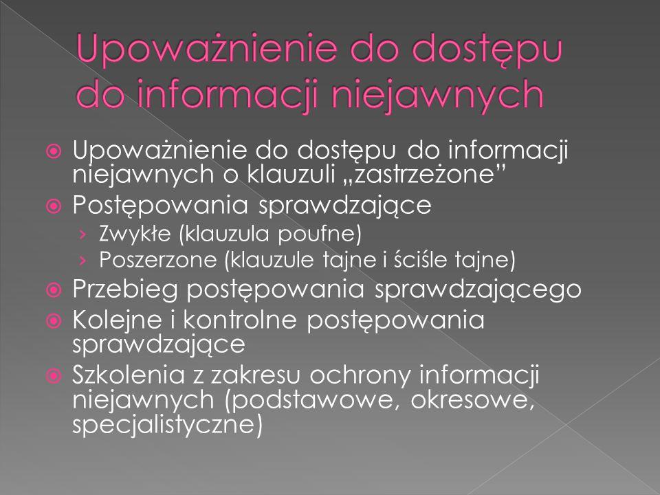 """ Upoważnienie do dostępu do informacji niejawnych o klauzuli """"zastrzeżone""""  Postępowania sprawdzające › Zwykłe (klauzula poufne) › Poszerzone (klauz"""