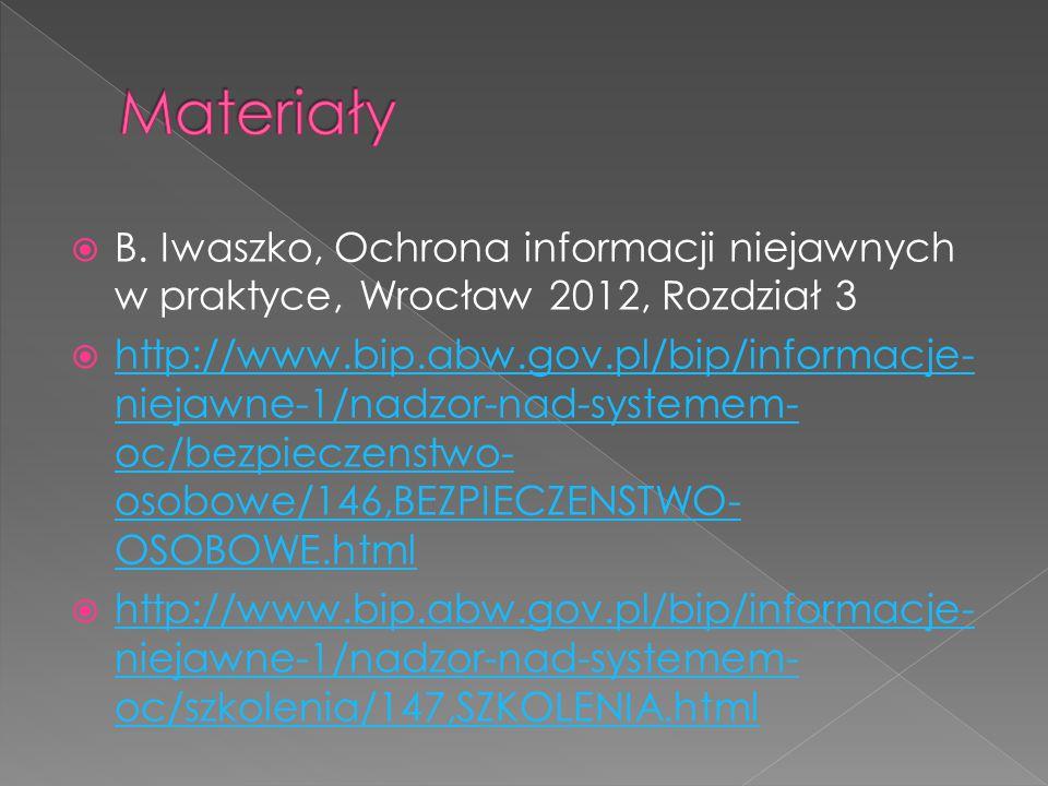  B. Iwaszko, Ochrona informacji niejawnych w praktyce, Wrocław 2012, Rozdział 3  http://www.bip.abw.gov.pl/bip/informacje- niejawne-1/nadzor-nad-sys