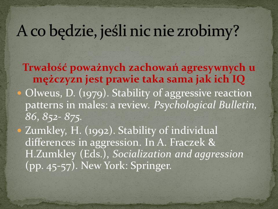 Trwałość poważnych zachowań agresywnych u mężczyzn jest prawie taka sama jak ich IQ Olweus, D. (1979). Stability of aggressive reaction patterns in ma