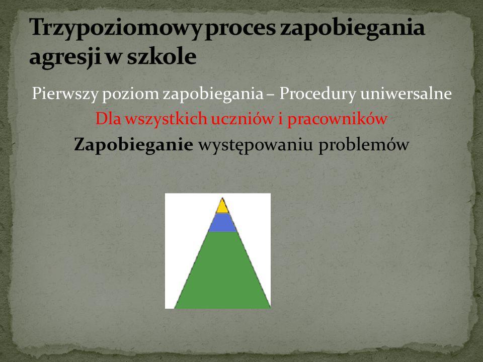Pierwszy poziom zapobiegania – Procedury uniwersalne Dla wszystkich uczniów i pracowników Zapobieganie występowaniu problemów