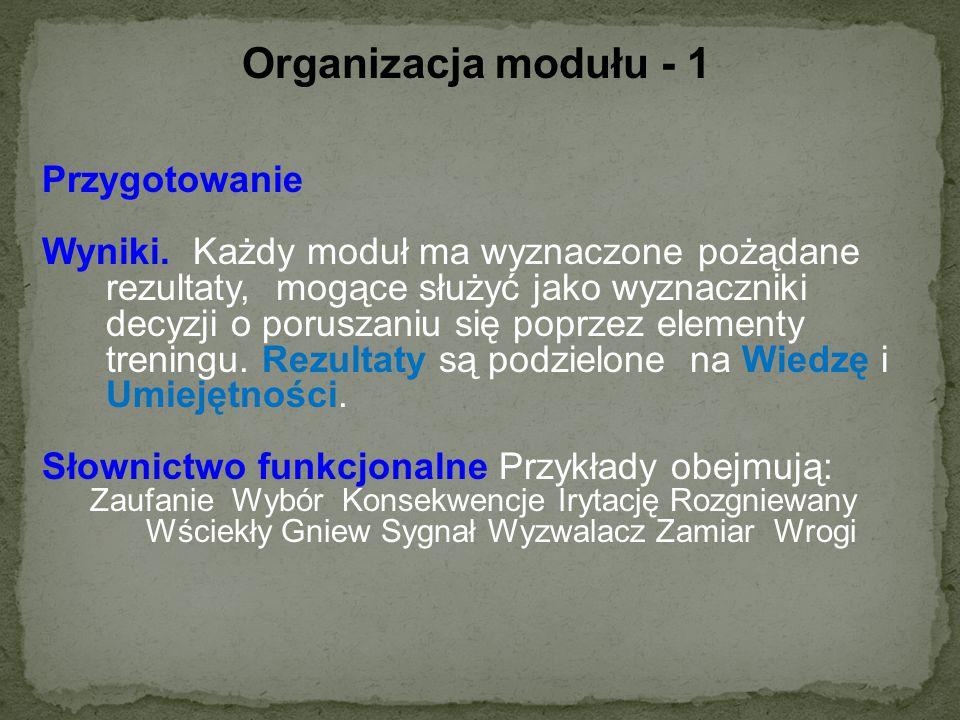 Organizacja modułu - 1 Przygotowanie Wyniki. Każdy moduł ma wyznaczone pożądane rezultaty, mogące służyć jako wyznaczniki decyzji o poruszaniu się pop