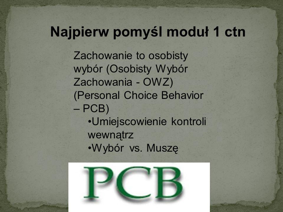 Najpierw pomyśl moduł 1 ctn Zachowanie to osobisty wybór (Osobisty Wybór Zachowania - OWZ) (Personal Choice Behavior – PCB) Umiejscowienie kontroli we