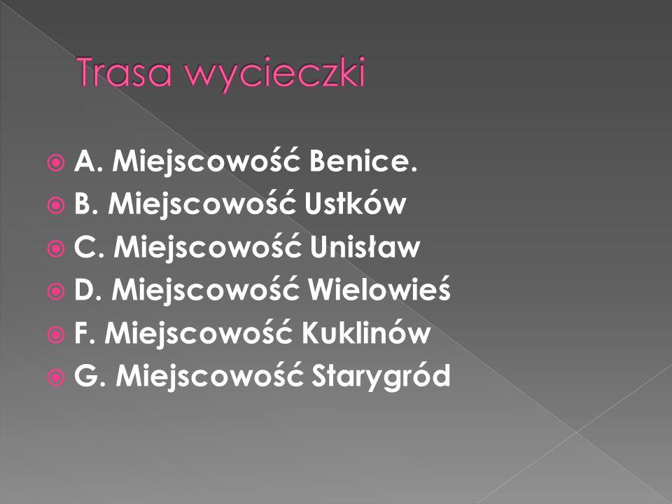  A. Miejscowość Benice.  B. Miejscowość Ustków  C. Miejscowość Unisław  D. Miejscowość Wielowieś  F. Miejscowość Kuklinów  G. Miejscowość Staryg