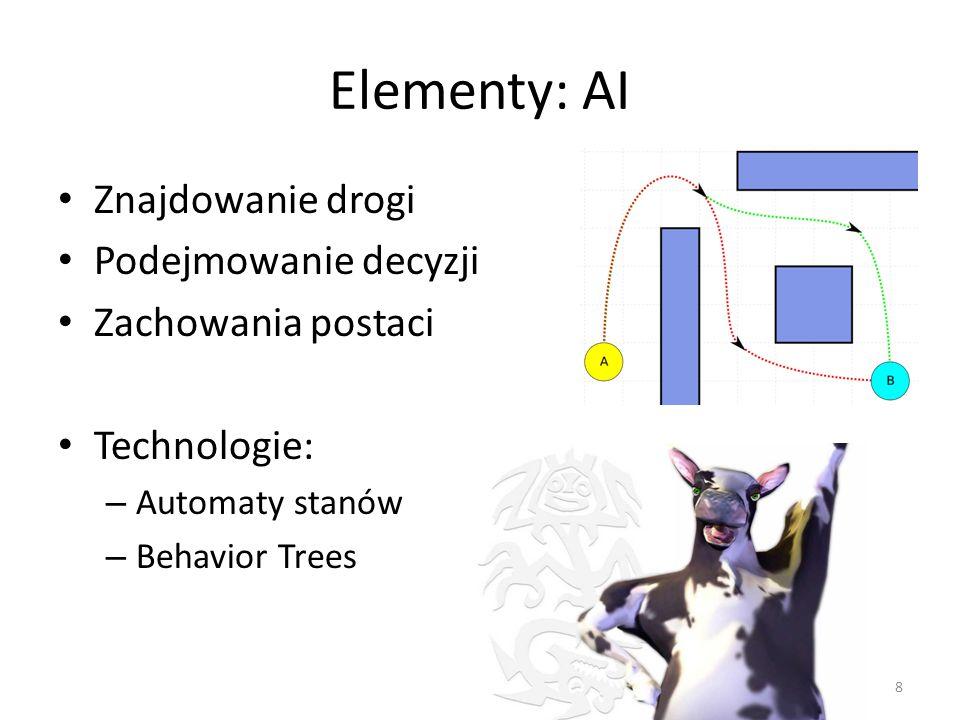 Elementy: AI Znajdowanie drogi Podejmowanie decyzji Zachowania postaci Technologie: – Automaty stanów – Behavior Trees 8