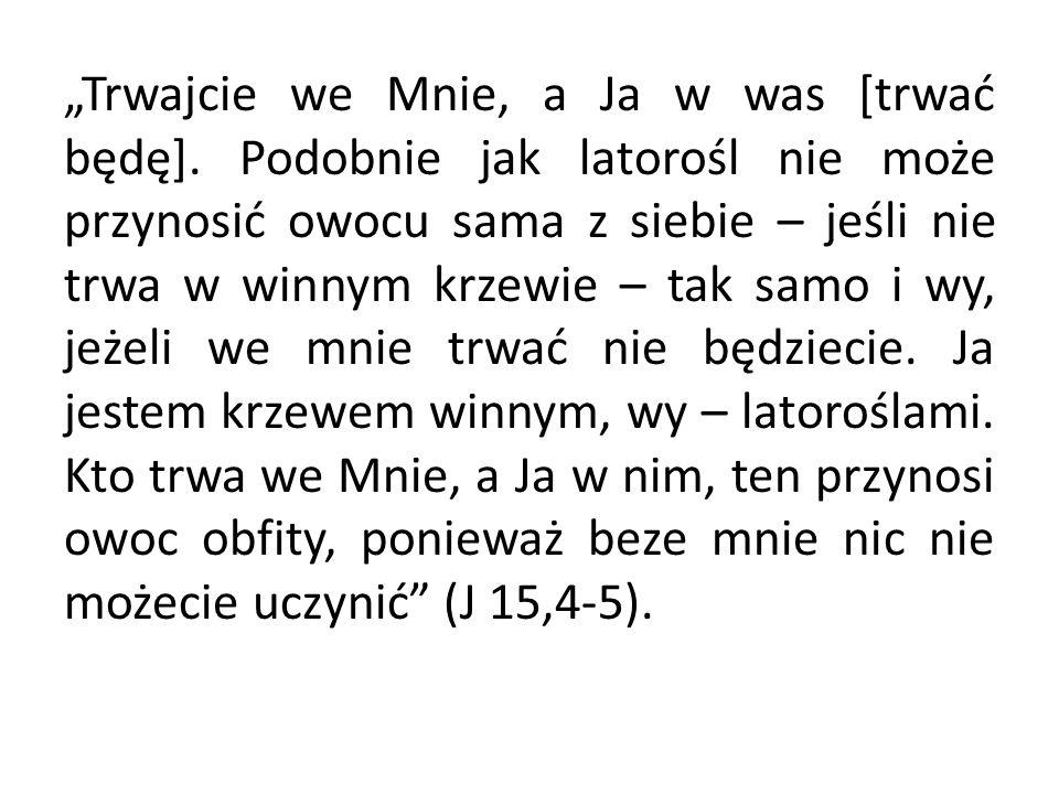 """""""Trwajcie we Mnie, a Ja w was [trwać będę]."""