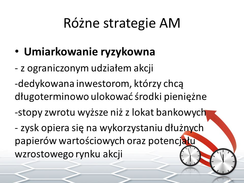 Różne strategie AM Ryzykowna -oparta głównie na akcjach, alternatywa dla samodzielnego inwestowania -przeznaczone dla doświadczonych inwestorów akceptujących duże ryzyko -udział akcji w portfelu, dzięki kredytowaniu lub wykorzystaniu kontraktów terminowych, może przekraczać 100% środków własnych - wysoka stopa zwrotu