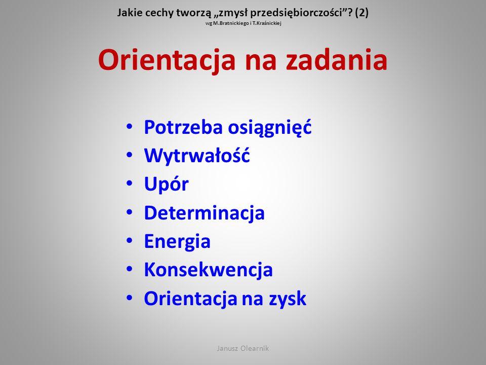 """Jakie cechy tworzą """"zmysł przedsiębiorczości""""? (2) wg M.Bratnickiego i T.Kraśnickiej Orientacja na zadania Potrzeba osiągnięć Wytrwałość Upór Determin"""