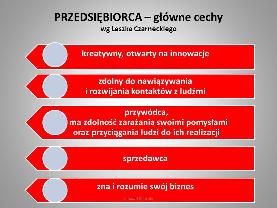 PRZEDSIĘBIORCA – główne cechy wg Leszka Czarneckiego kreatywny, otwarty na innowacje zdolny do nawiązywania i rozwijania kontaktów z ludźmi przywódca,