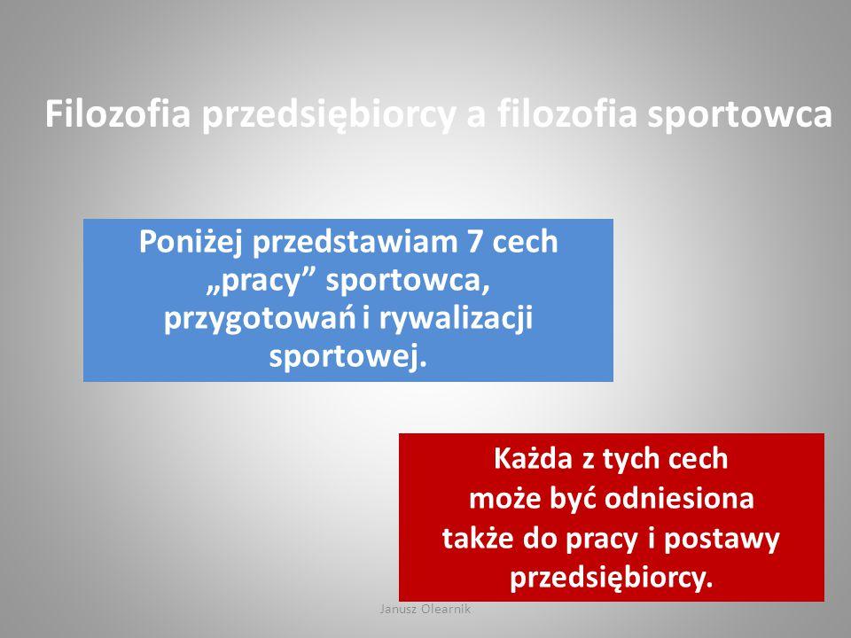"""Filozofia przedsiębiorcy a filozofia sportowca Poniżej przedstawiam 7 cech """"pracy"""" sportowca, przygotowań i rywalizacji sportowej. Każda z tych cech m"""