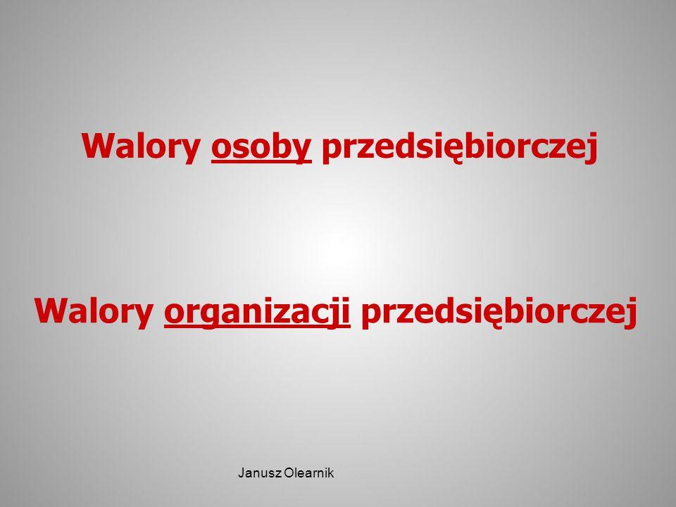 Walory osoby przedsiębiorczej Walory organizacji przedsiębiorczej Janusz Olearnik