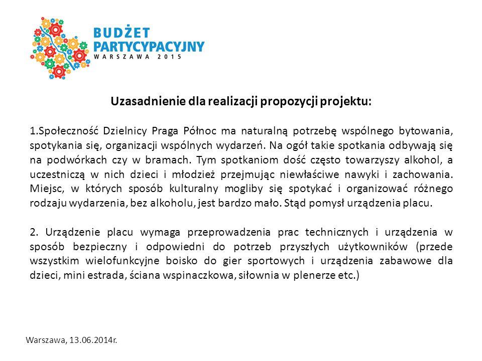 Warszawa, 13.06.2014r.Koszty Plac sportu i ruchu PSiR: 1.Boisko wielofunkcyjne.