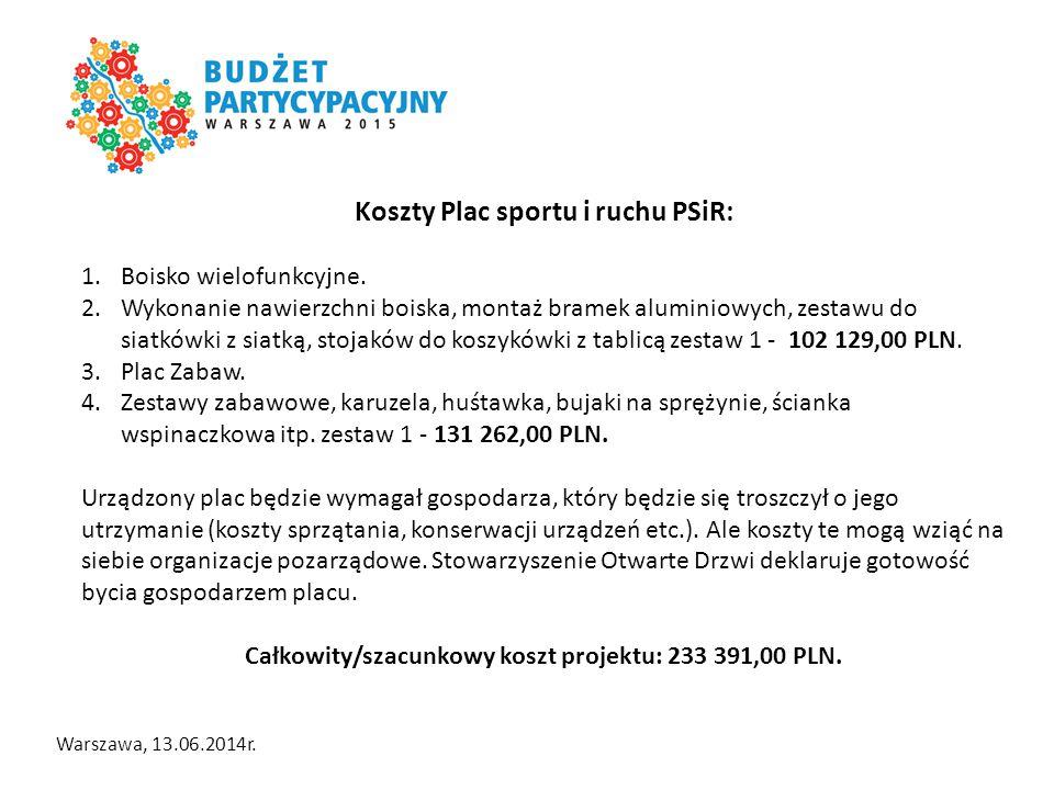Warszawa, 13.06.2014r. Koszty Plac sportu i ruchu PSiR: 1.Boisko wielofunkcyjne.