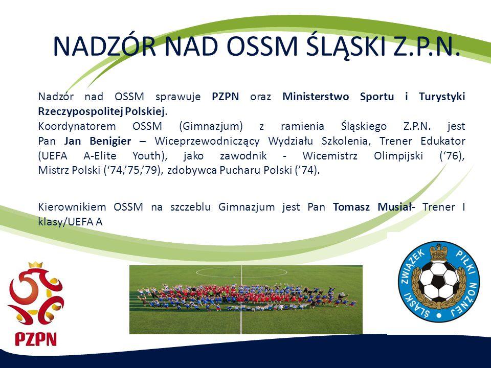 NADZÓR NAD OSSM ŚLĄSKI Z.P.N. Nadzór nad OSSM sprawuje PZPN oraz Ministerstwo Sportu i Turystyki Rzeczypospolitej Polskiej. Koordynatorem OSSM (Gimnaz