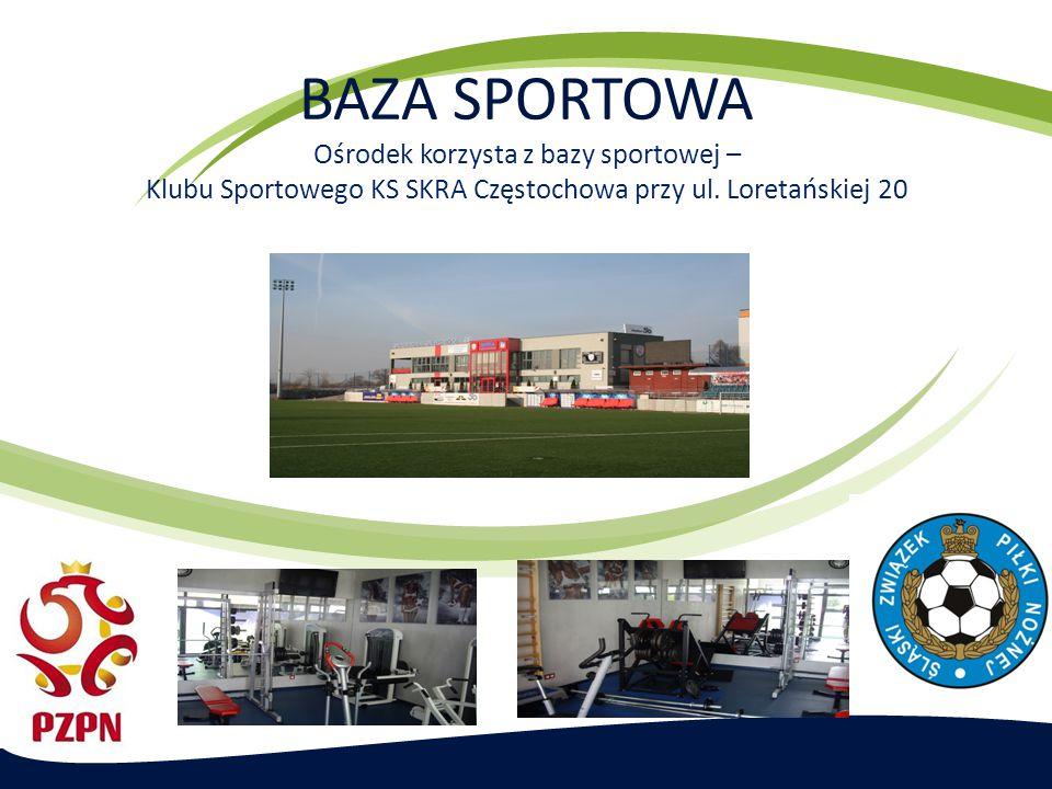 BAZA SPORTOWA Ośrodek korzysta z bazy sportowej – Klubu Sportowego KS SKRA Częstochowa przy ul. Loretańskiej 20