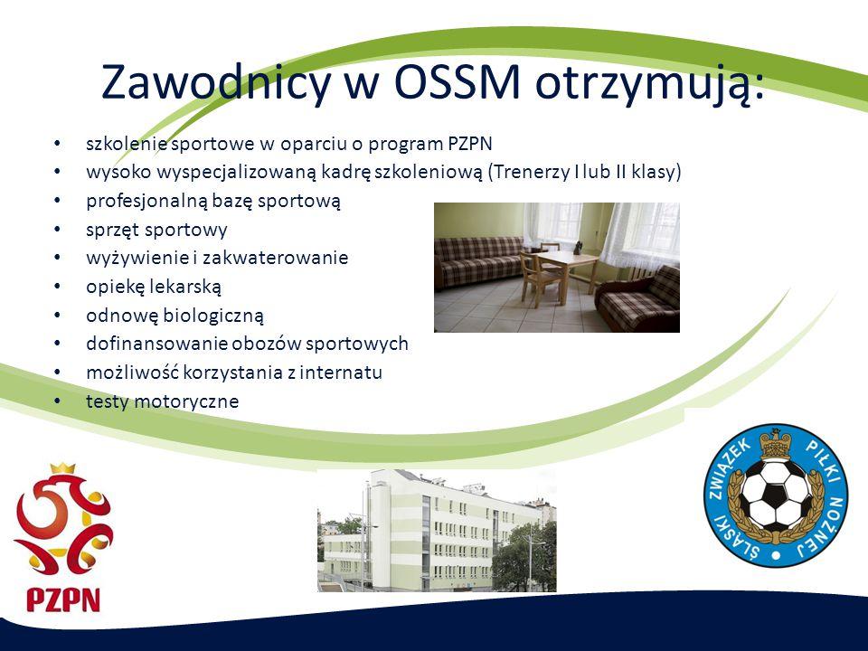 Zawodnicy w OSSM otrzymują: szkolenie sportowe w oparciu o program PZPN wysoko wyspecjalizowaną kadrę szkoleniową (Trenerzy I lub II klasy) profesjona