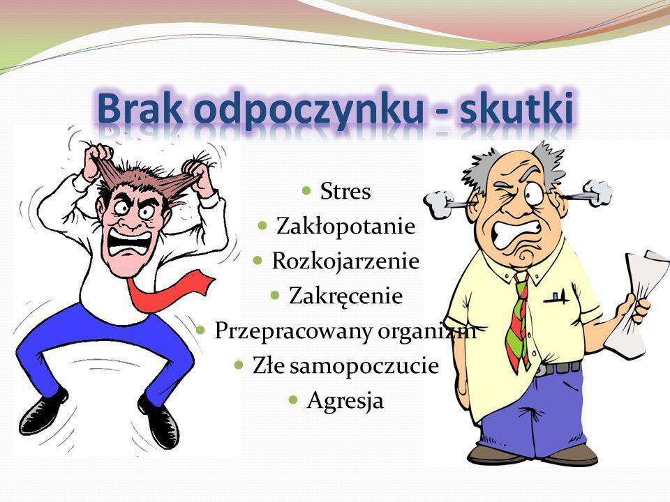 Stres Zakłopotanie Rozkojarzenie Zakręcenie Przepracowany organizm Złe samopoczucie Agresja
