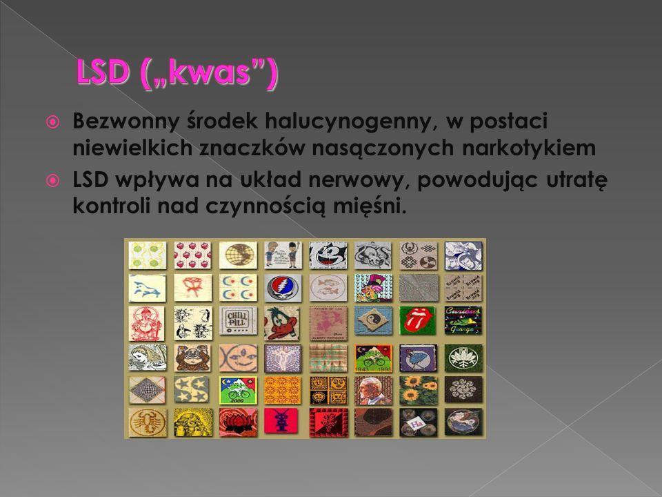  Bezwonny środek halucynogenny, w postaci niewielkich znaczków nasączonych narkotykiem  LSD wpływa na układ nerwowy, powodując utratę kontroli nad c