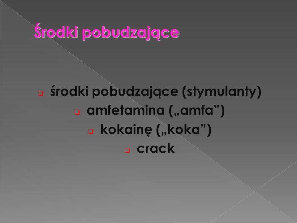 """ środki pobudzające (stymulanty)  amfetamina (""""amfa"""")  kokainę (""""koka"""")  crack"""