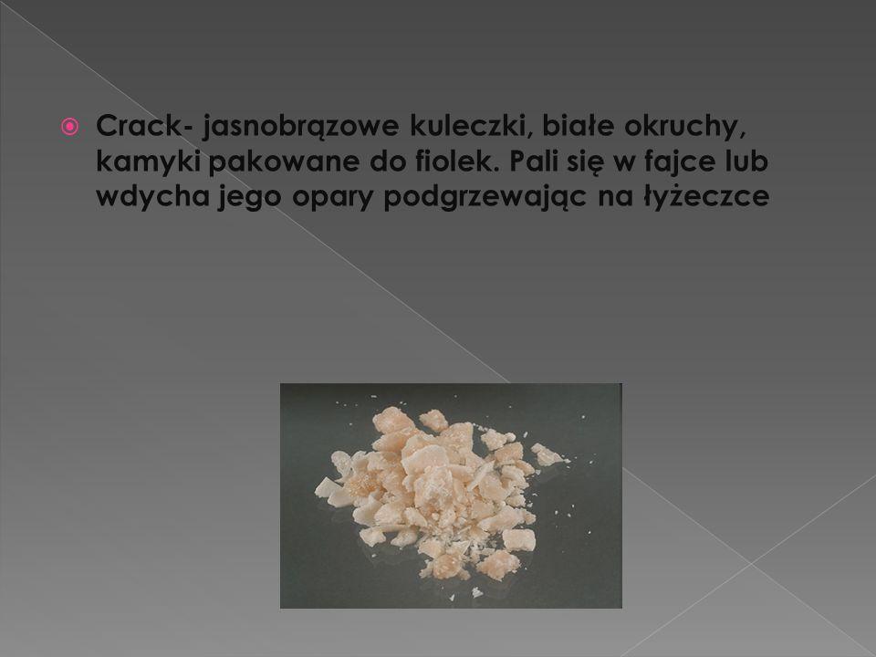  Crack- jasnobrązowe kuleczki, białe okruchy, kamyki pakowane do fiolek. Pali się w fajce lub wdycha jego opary podgrzewając na łyżeczce