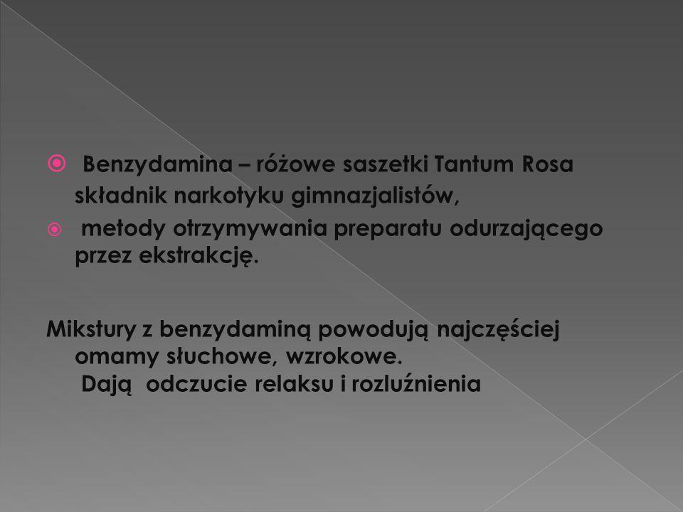  Benzydamina – różowe saszetki Tantum Rosa składnik narkotyku gimnazjalistów,  metody otrzymywania preparatu odurzającego przez ekstrakcję. Mikstury