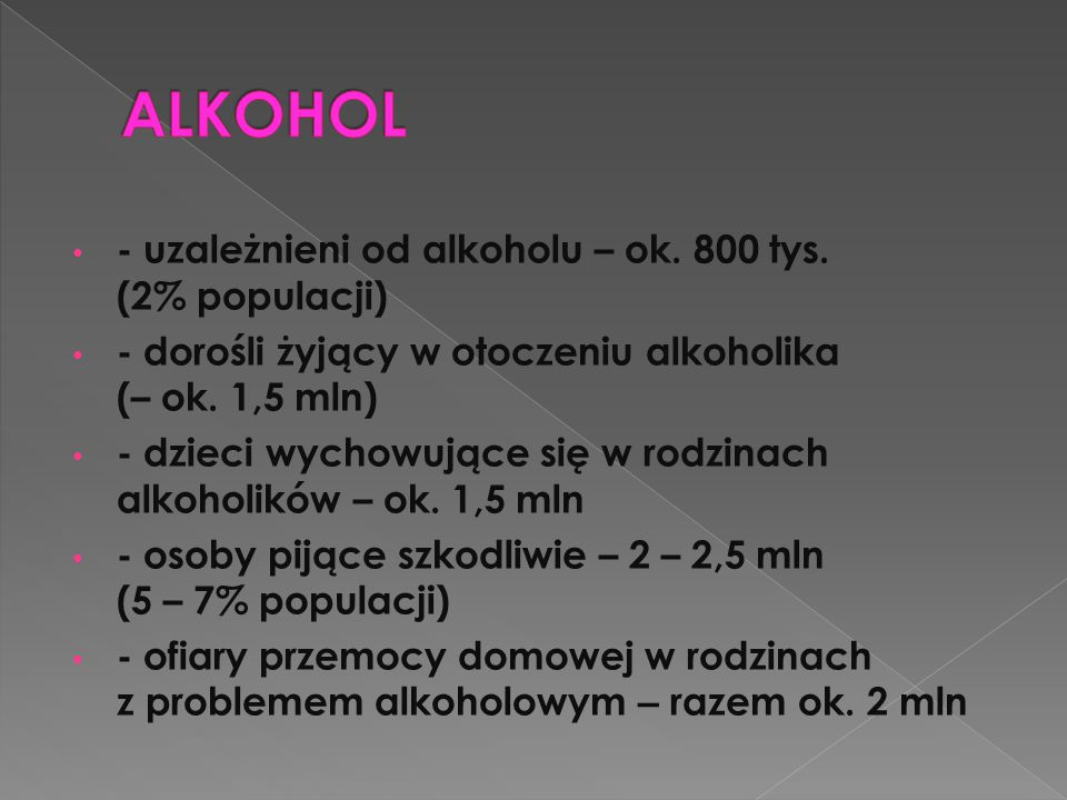 - uzależnieni od alkoholu – ok. 800 tys. (2% populacji) - dorośli żyjący w otoczeniu alkoholika (– ok. 1,5 mln) - dzieci wychowujące się w rodzinach a