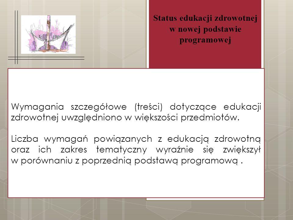 Wymagania szczegółowe (treści) dotyczące edukacji zdrowotnej uwzględniono w większości przedmiotów.