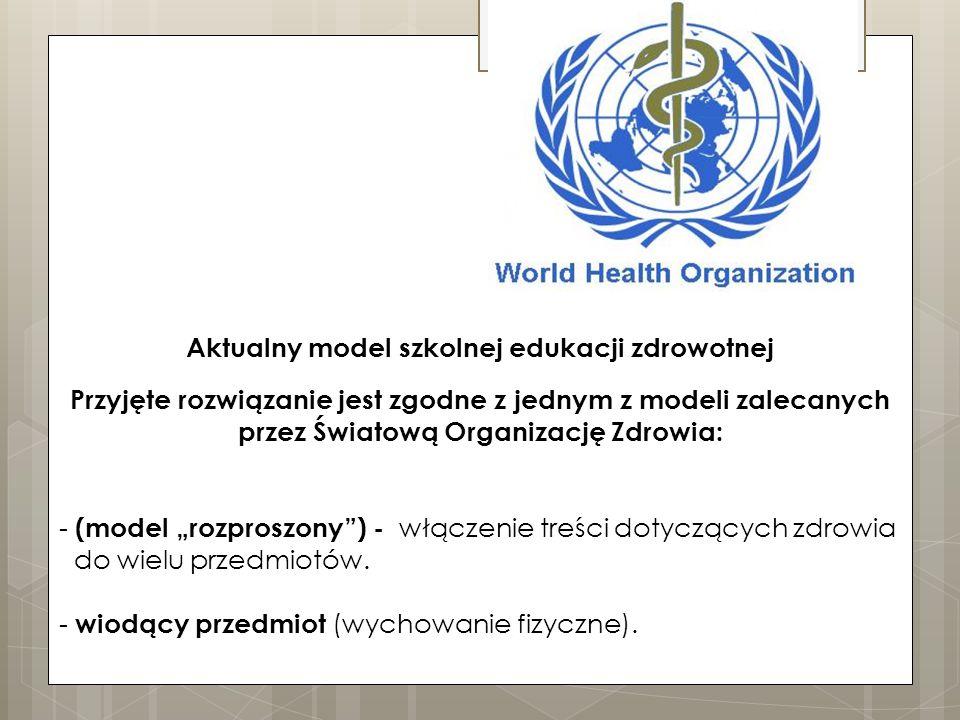 """Przyjęte rozwiązanie jest zgodne z jednym z modeli zalecanych przez Światową Organizację Zdrowia: - (model """"rozproszony ) - włączenie treści dotyczących zdrowia do wielu przedmiotów."""