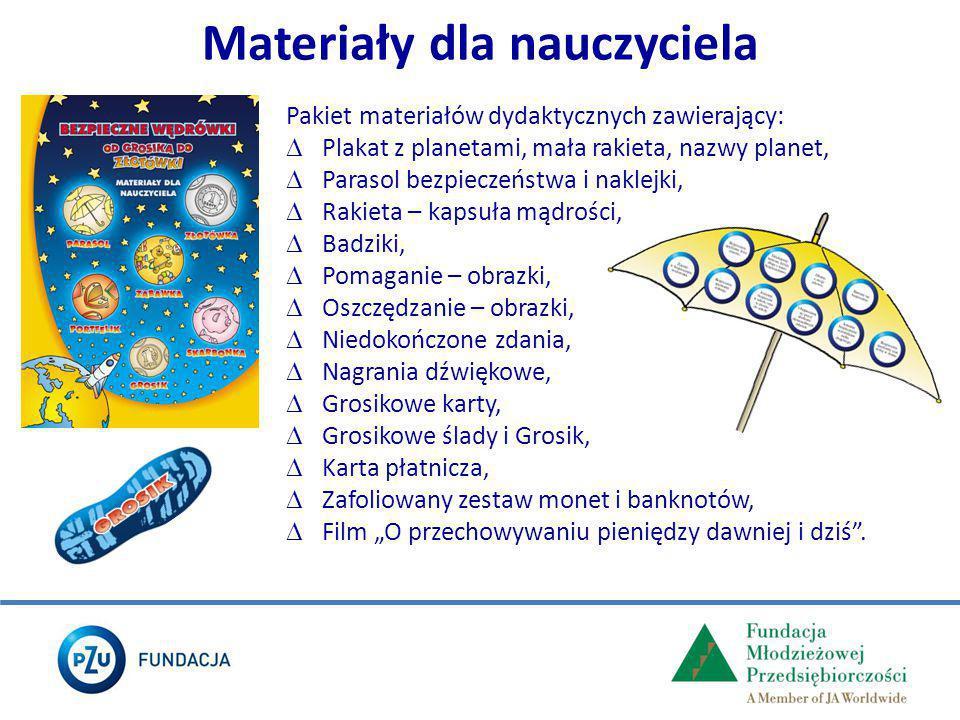 Pakiet materiałów dydaktycznych zawierający:  Plakat z planetami, mała rakieta, nazwy planet,  Parasol bezpieczeństwa i naklejki,  Rakieta – kapsuł