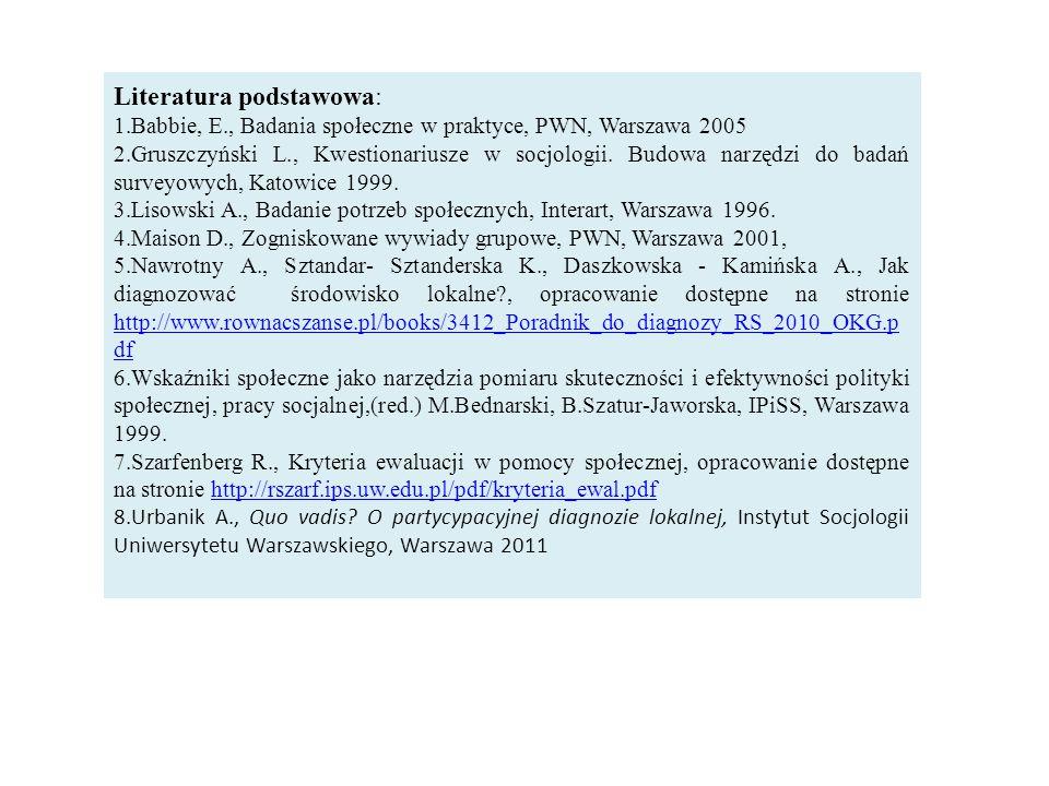 Literatura podstawowa: 1.Babbie, E., Badania społeczne w praktyce, PWN, Warszawa 2005 2.Gruszczyński L., Kwestionariusze w socjologii.