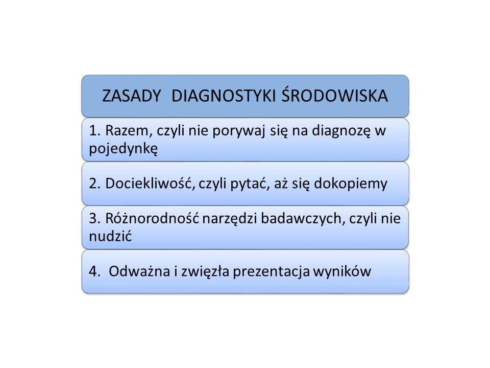 ZASADY DIAGNOSTYKI ŚRODOWISKA 1. Razem, czyli nie porywaj się na diagnozę w pojedynkę 2.