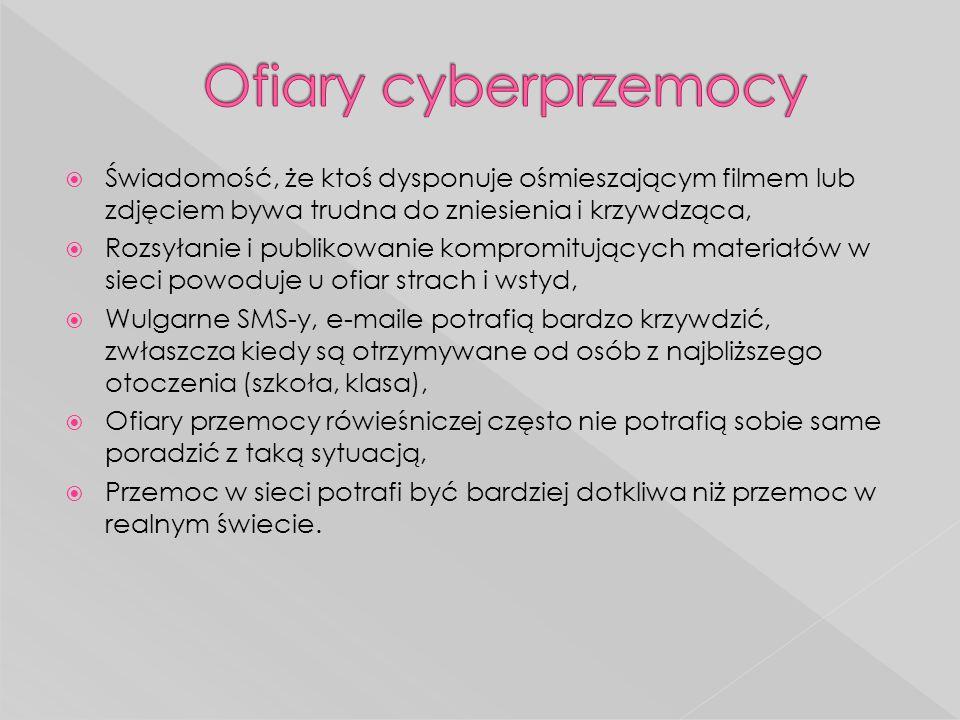 http://pl.wikipedia.org/wiki/Cyberprzemoc http://pl.wikipedia.org/wiki/Cyberprzemoc  http://www.saferinternet.pl/pl/cyberprzemoc http://www.saferinternet.pl/pl/cyberprzemoc  http://dzieckowsieci.fdn.pl/scenariusz-zajec-stop-cyberprzemocy http://dzieckowsieci.fdn.pl/scenariusz-zajec-stop-cyberprzemocy  http://zs46bemowo.pl/szkola_bez_przemocy/cyberprzemoc/index.h tml http://zs46bemowo.pl/szkola_bez_przemocy/cyberprzemoc/index.h tml  https://sites.google.com/site/cyberprzem/2-rozwiniecie-tematu/2d- wnioski https://sites.google.com/site/cyberprzem/2-rozwiniecie-tematu/2d- wnioski  http://www.gimszczekociny.pl/index.php?go=47 http://www.gimszczekociny.pl/index.php?go=47  http://psychologia.wieszjak.polki.pl/relacje/296230,Cyberprzemoc- nie-pozwol-zniszczyc-sobie-zycia.html http://psychologia.wieszjak.polki.pl/relacje/296230,Cyberprzemoc- nie-pozwol-zniszczyc-sobie-zycia.html
