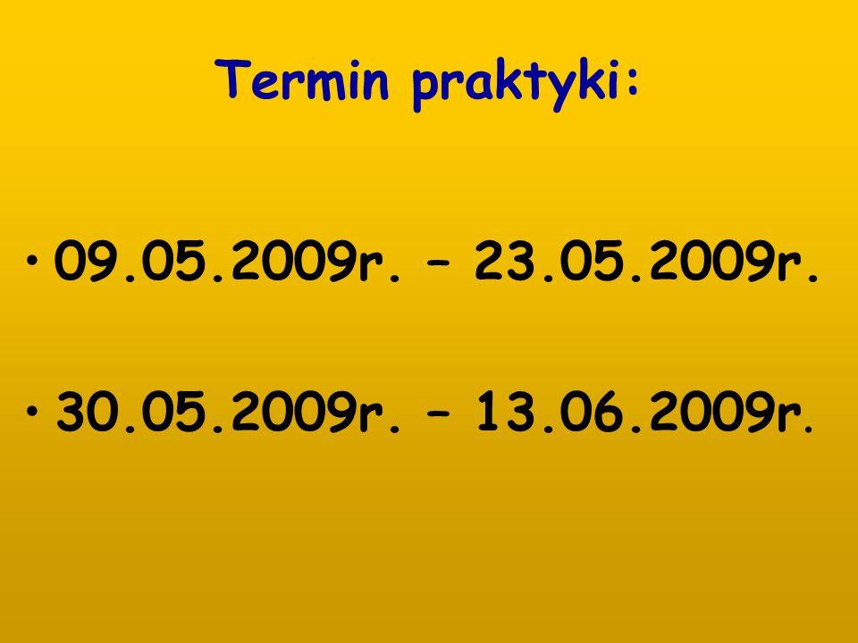 Termin praktyki: 09.05.2009r. – 23.05.2009r. 30.05.2009r. – 13.06.2009r.
