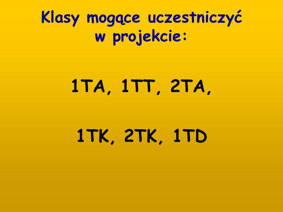 Klasy mogące uczestniczyć w projekcie: 1TA, 1TT, 2TA, 1TK, 2TK, 1TD