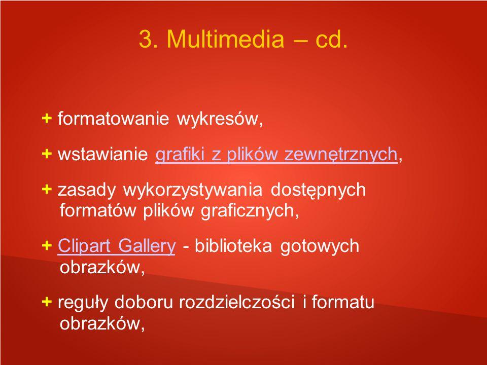 + formatowanie wykresów, + wstawianie grafiki z plików zewnętrznych,grafiki z plików zewnętrznych + zasady wykorzystywania dostępnych formatów plików graficznych, + Clipart Gallery - biblioteka gotowych obrazków,Clipart Gallery + reguły doboru rozdzielczości i formatu obrazków, 3.