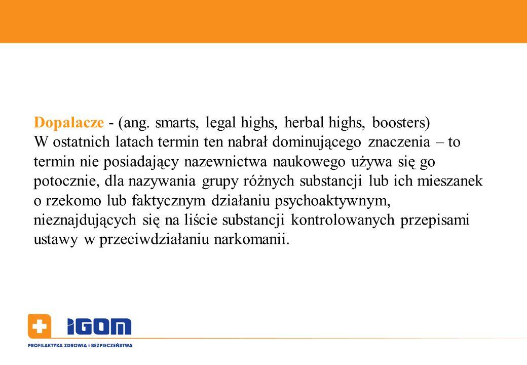 Dopalacze - (ang. smarts, legal highs, herbal highs, boosters) W ostatnich latach termin ten nabrał dominującego znaczenia – to termin nie posiadający