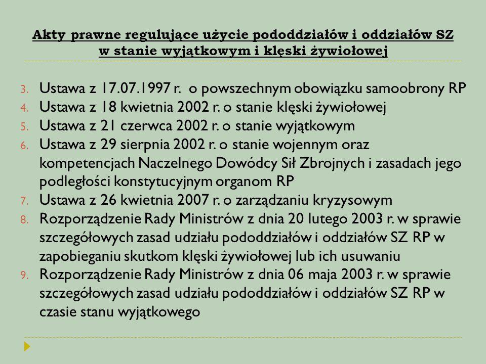 Akty prawne regulujące użycie pododdziałów i oddziałów SZ w stanie wyjątkowym i klęski żywiołowej 3. Ustawa z 17.07.1997 r. o powszechnym obowiązku sa