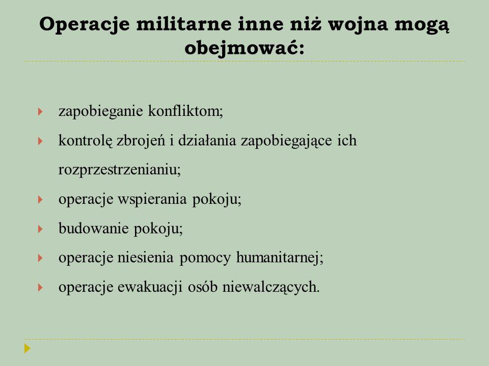 Operacje militarne inne niż wojna mogą obejmować:  zapobieganie konfliktom;  kontrolę zbrojeń i działania zapobiegające ich rozprzestrzenianiu;  op