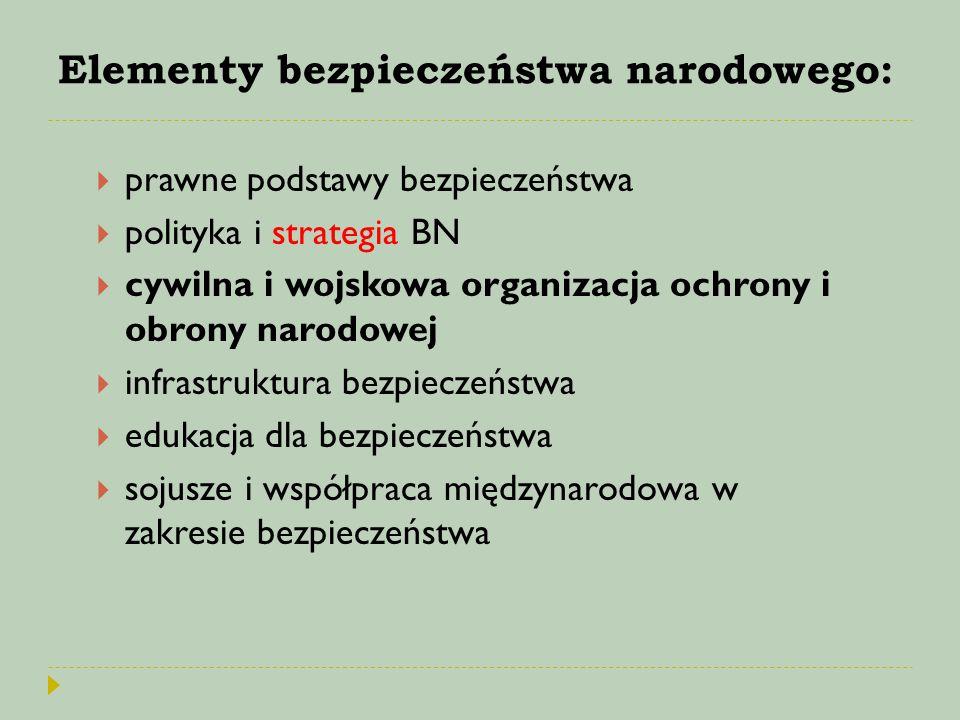 Elementy bezpieczeństwa narodowego:  prawne podstawy bezpieczeństwa  polityka i strategia BN  cywilna i wojskowa organizacja ochrony i obrony narod