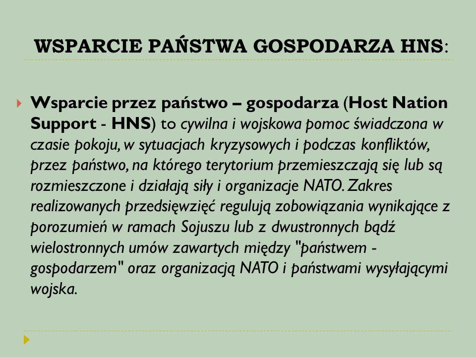 WSPARCIE PAŃSTWA GOSPODARZA HNS :  Wsparcie przez państwo – gospodarza (Host Nation Support - HNS) to cywilna i wojskowa pomoc świadczona w czasie po