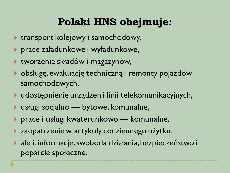 Polski HNS obejmuje:  transport kolejowy i samochodowy,  prace załadunkowe i wyładunkowe,  tworzenie składów i magazynów,  obsługę, ewakuację tech
