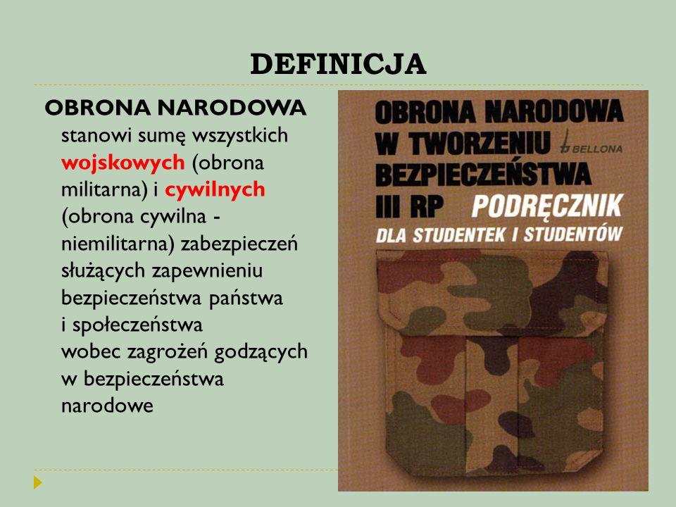 DEFINICJA OBRONA NARODOWA stanowi sumę wszystkich wojskowych (obrona militarna) i cywilnych (obrona cywilna - niemilitarna) zabezpieczeń służących zap