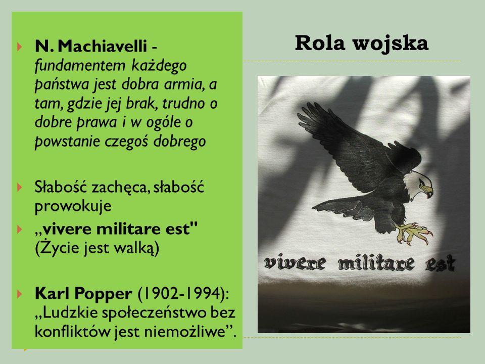 Rola wojska  N. Machiavelli - fundamentem każdego państwa jest dobra armia, a tam, gdzie jej brak, trudno o dobre prawa i w ogóle o powstanie czegoś