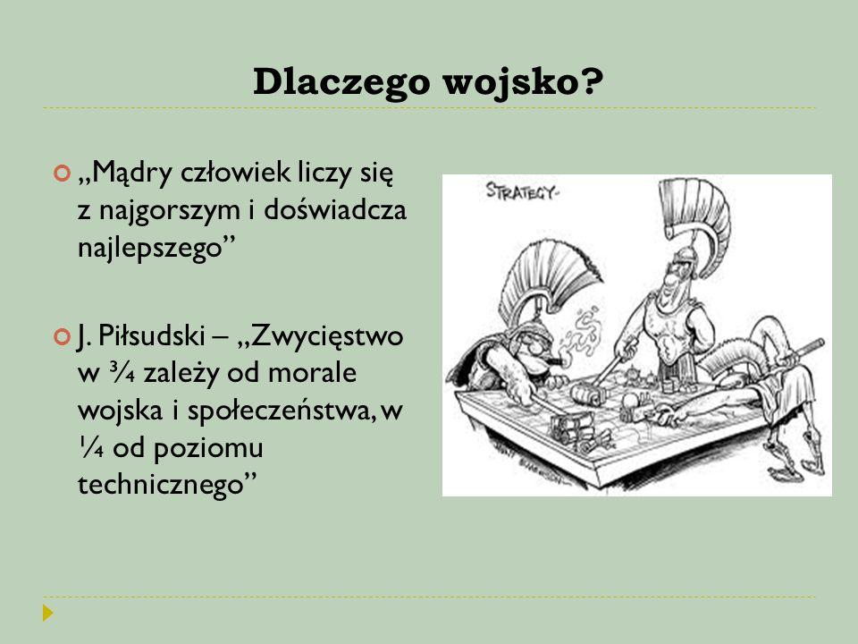 """Dlaczego wojsko? """"Mądry człowiek liczy się z najgorszym i doświadcza najlepszego"""" J. Piłsudski – """"Zwycięstwo w ¾ zależy od morale wojska i społeczeńst"""