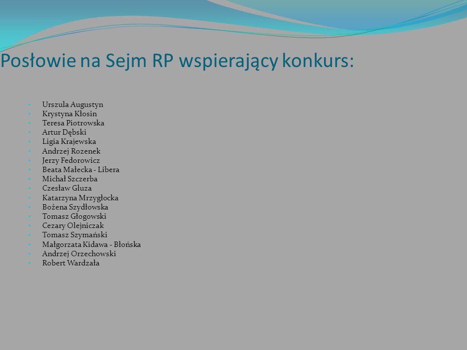Posłowie na Sejm RP wspierający konkurs: Urszula Augustyn Krystyna Kłosin Teresa Piotrowska Artur Dębski Ligia Krajewska Andrzej Rozenek Jerzy Fedorow