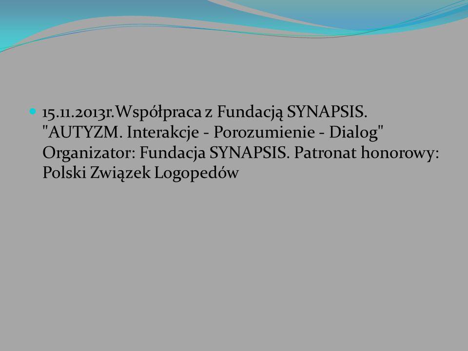 15.11.2013r.Współpraca z Fundacją SYNAPSIS.
