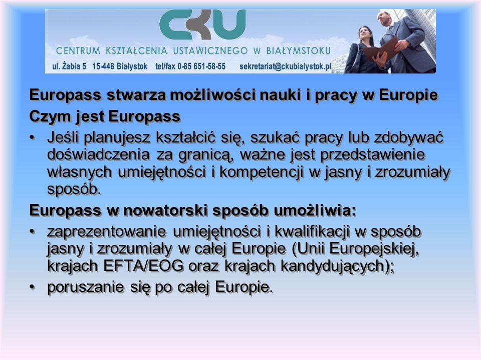 Europass stwarza możliwości nauki i pracy w Europie Czym jest Europass Jeśli planujesz kształcić się, szukać pracy lub zdobywać doświadczenia za granicą, ważne jest przedstawienie własnych umiejętności i kompetencji w jasny i zrozumiały sposób.