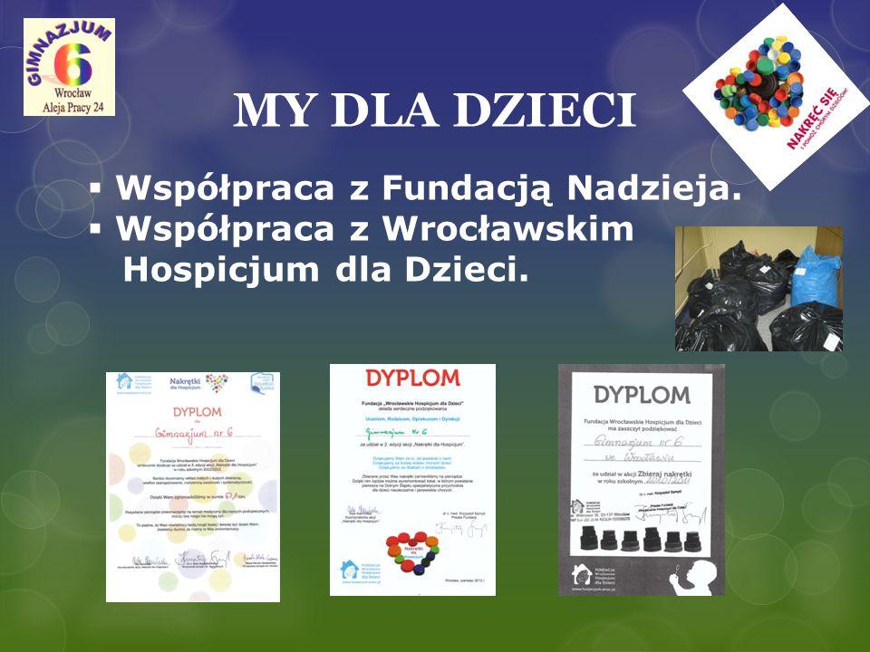 MY DLA DZIECI  Współpraca z Fundacją Nadzieja.  Współpraca z Wrocławskim Hospicjum dla Dzieci.