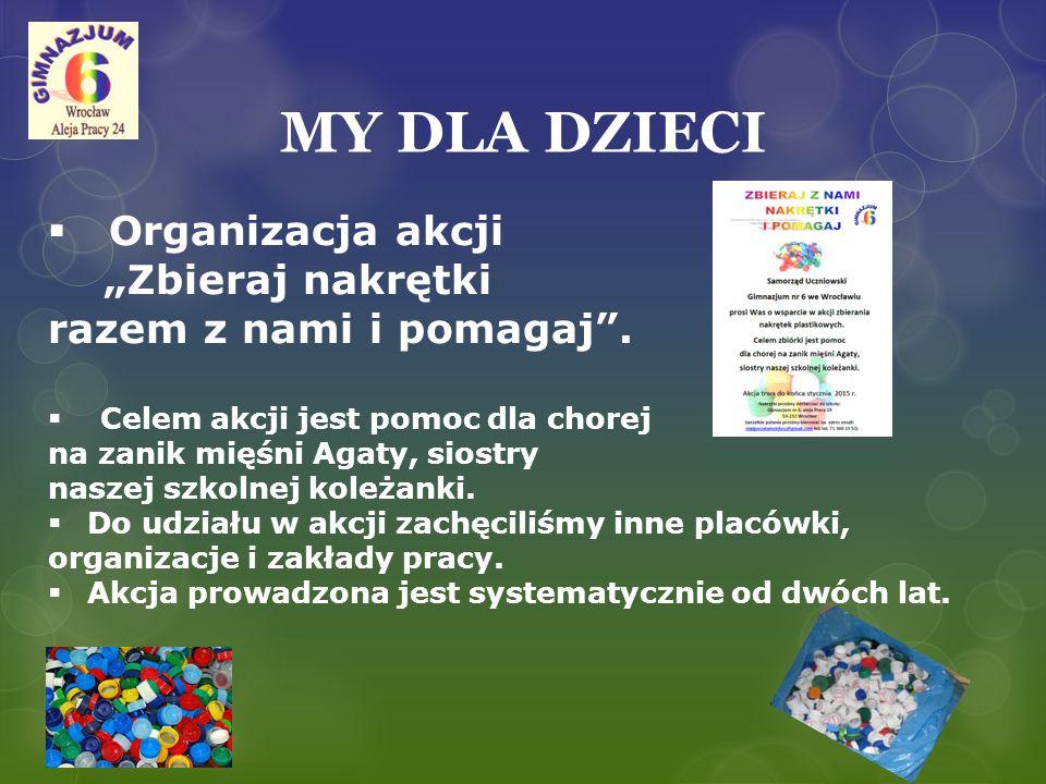 """MY DLA DZIECI  Organizacja akcji """"Pomocna 6 Celem akcji jest pomoc wychowankom różnych instytucji."""