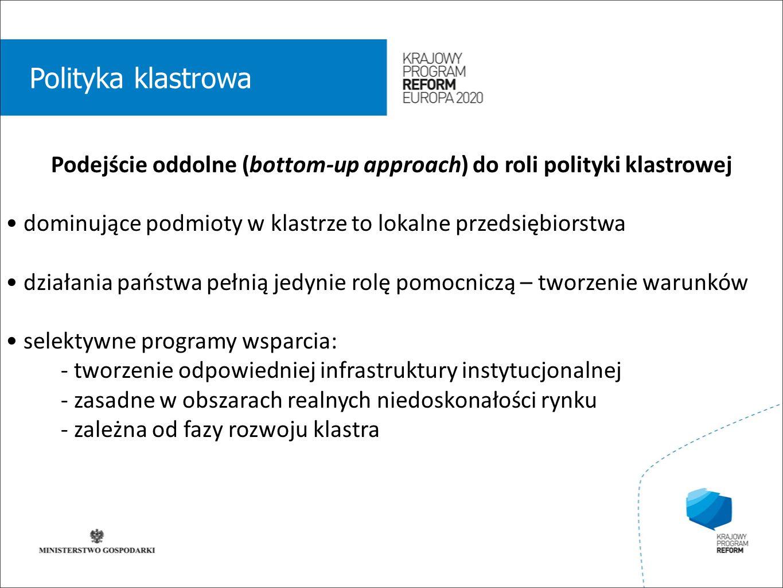 wstęp 01 Polityka klastrowa Podejście oddolne (bottom-up approach) do roli polityki klastrowej dominujące podmioty w klastrze to lokalne przedsiębiorstwa działania państwa pełnią jedynie rolę pomocniczą – tworzenie warunków selektywne programy wsparcia: - tworzenie odpowiedniej infrastruktury instytucjonalnej - zasadne w obszarach realnych niedoskonałości rynku - zależna od fazy rozwoju klastra