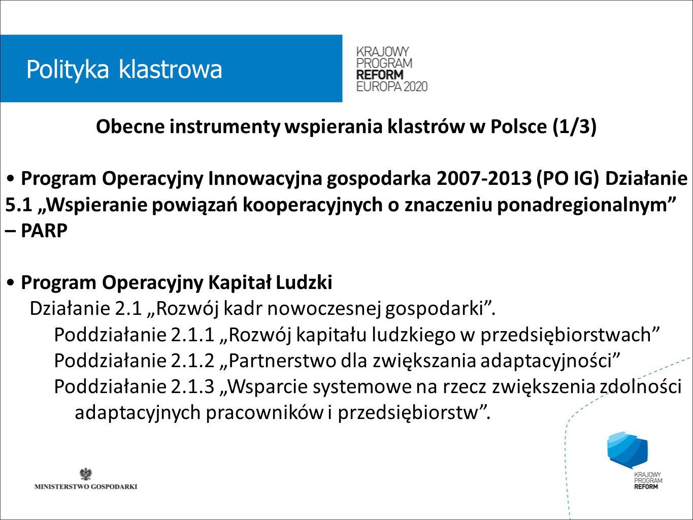 """wstęp 01 Polityka klastrowa Obecne instrumenty wspierania klastrów w Polsce (1/3) Program Operacyjny Innowacyjna gospodarka 2007-2013 (PO IG) Działanie 5.1 """"Wspieranie powiązań kooperacyjnych o znaczeniu ponadregionalnym – PARP Program Operacyjny Kapitał Ludzki Działanie 2.1 """"Rozwój kadr nowoczesnej gospodarki ."""